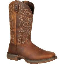 """Durango DB4443 12"""" Rebel Slip Resistant Wide Calf Pull On Leather Western Boots"""