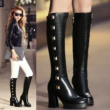 Punk Goth Womens Black Leather Knee High Boots Rivets Studded Winter Long Boots