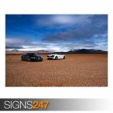 AUDI R8 IN THE DESERT (AA203) CAR POSTER - Photo Poster Print Art A0 A1 A2 A3 A4