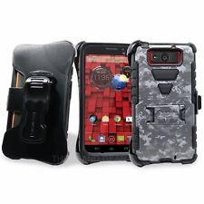For Motorola Droid Ultra/Maxx XT1080 Tri Shield case + BELT CLIP HOLSTER STAND