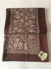 VINTAGE AUSTRIAN BROWN & TAN COTTON FLORAL PATTERN TABLECLOTH