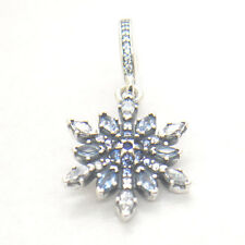Authentic S925 Silver Crystalized Snowflake w/ Blue Crystals & CZ Dangle Charm