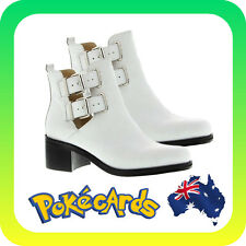 TONY BIANCO 'JOKER' WHITE LEATHER ANKLE BOOTS / HEELS - RRP $199