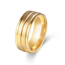 Vintage Mens Stainless Steel Ring Yellow Gold 8mm Size 7/8/9/10/11 Couple