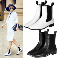 Womens Black White Cow Leather Square Toe Ankle Boots Flats Oxfords Punk Shoes