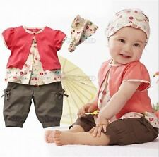3Pcs Pants Kids Girl Toddder Baby Headband Top Shorts Clothes Costume Red F