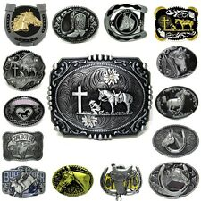 Mens Vintage Western Cowboy Horse Christian Animals Leather Belt Buckle Lot 1PC
