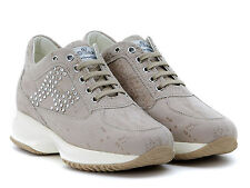 Hogan Interactive womens fashion trainers beige lizard print suede leather