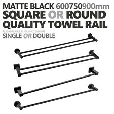 ROUND/SQUARE Matte Black 600mm 750mm 900mm Single Double Towel Rail Rack Holder
