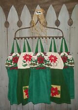Poinsettia Flowers Pine Cones Holly Hanging Kitchen Dishtowel Handmade by HCF&D