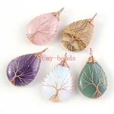 Rose Gold Wire Wrap Amethyst Rose Quartz Gem Tree Of Life Chakra Pendant Jewelry