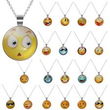 Cute Smiley Emoji Funny Face Necklace Chain Fancy Jewelry Glass Cabochon Pendant