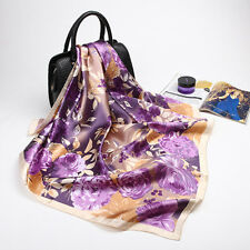 "Women's Purple Floral Oil Painting Silk-Satin Square Scarf Shawl Wraps 35""*35"""