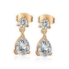 18K Gold Plated Clear Teardrop Crystal Cute Fashion Womens Dangle Stud Earrings