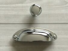 "3.5"" Cup Pull Bin Dresser Knob Drawer Pulls Cabinet Pull Knobs Silver Chrome 89"