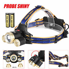 ZOOM 15000Lm Headlamp CREE XM-L 3x T6 LED Headlight 18650 Light Charger +Battery