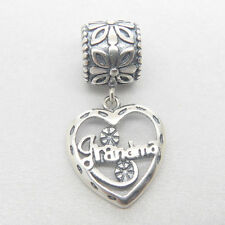 Authentic S925 Silver Grandma Grandmother love heart Charm