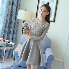 Autumn/Winter Fashion Womens Knitting Long Sleeve Lace Crochet Woolen Mini Dress