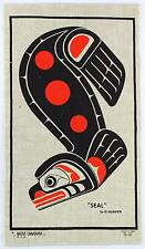 A Native Canadiana Seal by D.Harper. Printed on linen. Inuit design Wall hanging