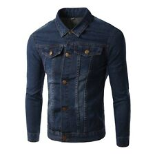 New Mens Slim Fit Fashion Button Denim Coat Solid Jean Jacket Autumn Overcoat