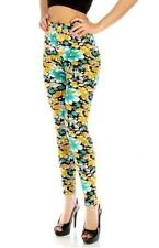 Black/Turquoise/Yellow Flower Print  Leggings in S/M and L/XL 2X, 3X