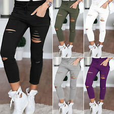 Womens Ladies Stretch Faded Ripped Slim Fit Skinny Denim Jeans Pants Trousers