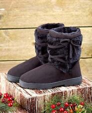 Microsuede Boots Booties Brown Black Faux Fur Lined Durable Warm Ankle Wrap NEW