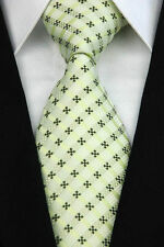 PRICED TO CLEAR! Mens Classic All Over Grid Box Silk Jacquard Necktie Tie Green