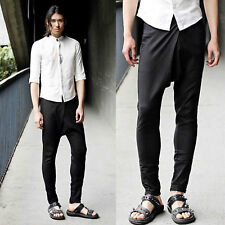 Men Linen Black Straight Leg Loose Fit Drop Crotch Harem Low Rise Pants Trousers