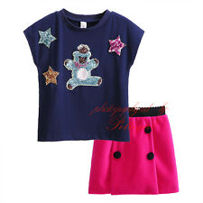 Girls Sequin Star Cartoon T-shirt Top + A-line Skirt Set Princess Party Outfit