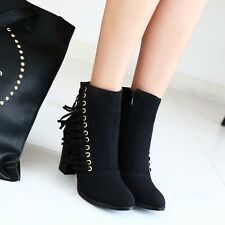 Womens Block Heel Tassels Ankle Boots Fashion Zipper Autumn Shoes Riding All