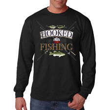 Hooked On Fishing Rods Reels Lures Bass Fish Long Sleeve T-Shirt