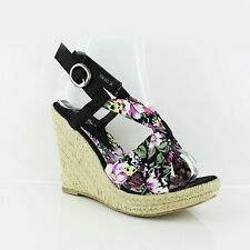 WOMEN'S LADIES STRAPPY PLATFORM WEDGE HEEL SHOES SANDALS ESPADRILLES SIZE 3-8