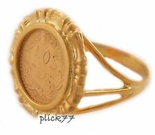 24k Gold Plated Bamboo Design Women's Coin Ring 2 Peso Coin Included