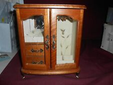 NICE WOODEN JEWELRY BOX- GLASS DOOR AND  2 DRAWERS
