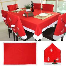 Non-Woven Santa Red Hat Chair Cover Christmas Table Cloth For Xmas Dinner Decor