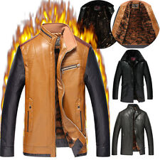 Men Fleece Warm Winter Jacket Parka Coat Faux Leather Slim Trench Outwear Gift