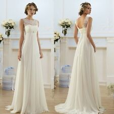 A Line Lace Chifffon Beach Casual Wedding Dresses Sleeveless Bridal Gowns HD005