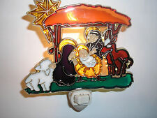 """STAINED GLASS STYLE """" MANGER """"  NIGHT LIGHT"""