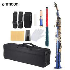 ammoon Brass Straight Soprano Sax Saxophone Bb B Flat with Case Gold Sax G1T1