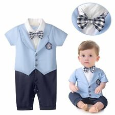Baby Toddler Boy Wedding Christening Formal Tuxedo Suit Outfit Romper Clothes