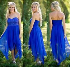 Royal Blue Strapless Bridesmaid Party Dress Asymmetrical Hem Cocktail Gown HD017
