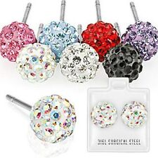 Pair of 316L Surgical Steel Stud Earring with Multi Crystal Ferido Ball
