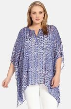 New Karen Kane Plus Size Blue Reflection Print Scarf Sheer Top Size 0X 1X USA
