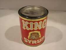"""Vintage King Syrup (Lion's Head) 40oz. Advertising Tin With Lid """"Good Condition"""""""