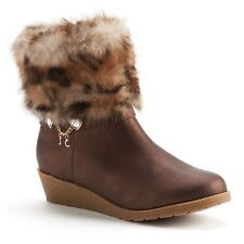 NEW! Juicy Couture Heidi Girls' Faux-Fur Wedge Ankle Boots Brown w/ Charm