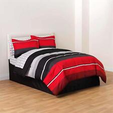 Comforter Bed Set 8 Piece Graphic Stripes Black Grey Red Skirt Flat Fitted Sheet