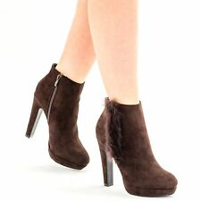 New Womens Ladies High Block Heels Platforms Ankle Boots Fur Side Zip Shoes Size
