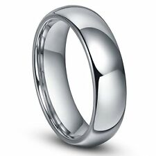 6mm Men Or Ladies Tungsten Carbide Shiny Polished Plain Domed Wedding Band Ring