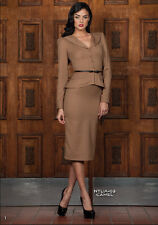 Stop Staring Bombshell Chocolate Brown Natalia 40s Pinup VLV Suit Pencil Dress S